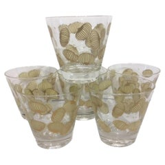 Six Vintage Fred Press Old Fashioned Glasses with Tan Enamel and 22 Karat Gold