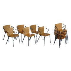 Six Vintage Fritz Hansen Vico Magistretti Duo Bentwood Stacking Armchairs 6 4 2