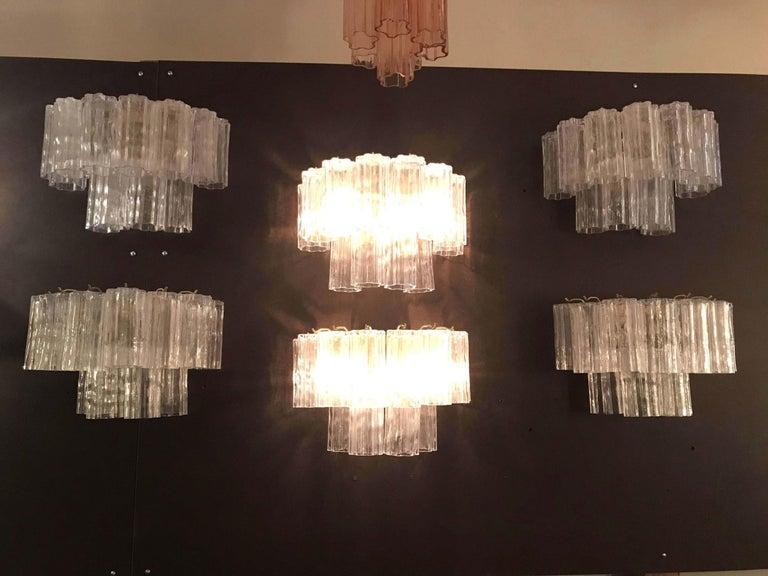Six Vintage Italian Sconces w/ Clear Tronchi Murano Glass Designed Venini, 1960s In Good Condition For Sale In Los Angeles, CA