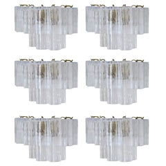 Six Vintage Italian Sconces w/ Clear Tronchi Murano Glass Designed Venini, 1960s