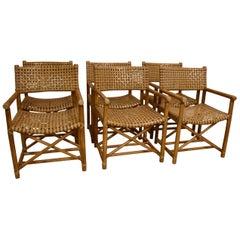 Six Vintage McGuire Antalya Bamboo & Rawhide Chairs