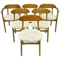 Six Vintage Mid-Century Modern Sculpted Walnut Barrel Back Dining Room Chairs