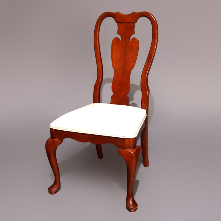 Carved Six Vintage Pennsylvania House Style Cherry Queen Anne Style Dining Chairs
