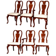 Six Vintage Pennsylvania House Style Cherry Queen Anne Style Dining Chairs