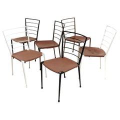 Six Vintage Robert Heal Ladderax Midcentury Metal Dining Chairs