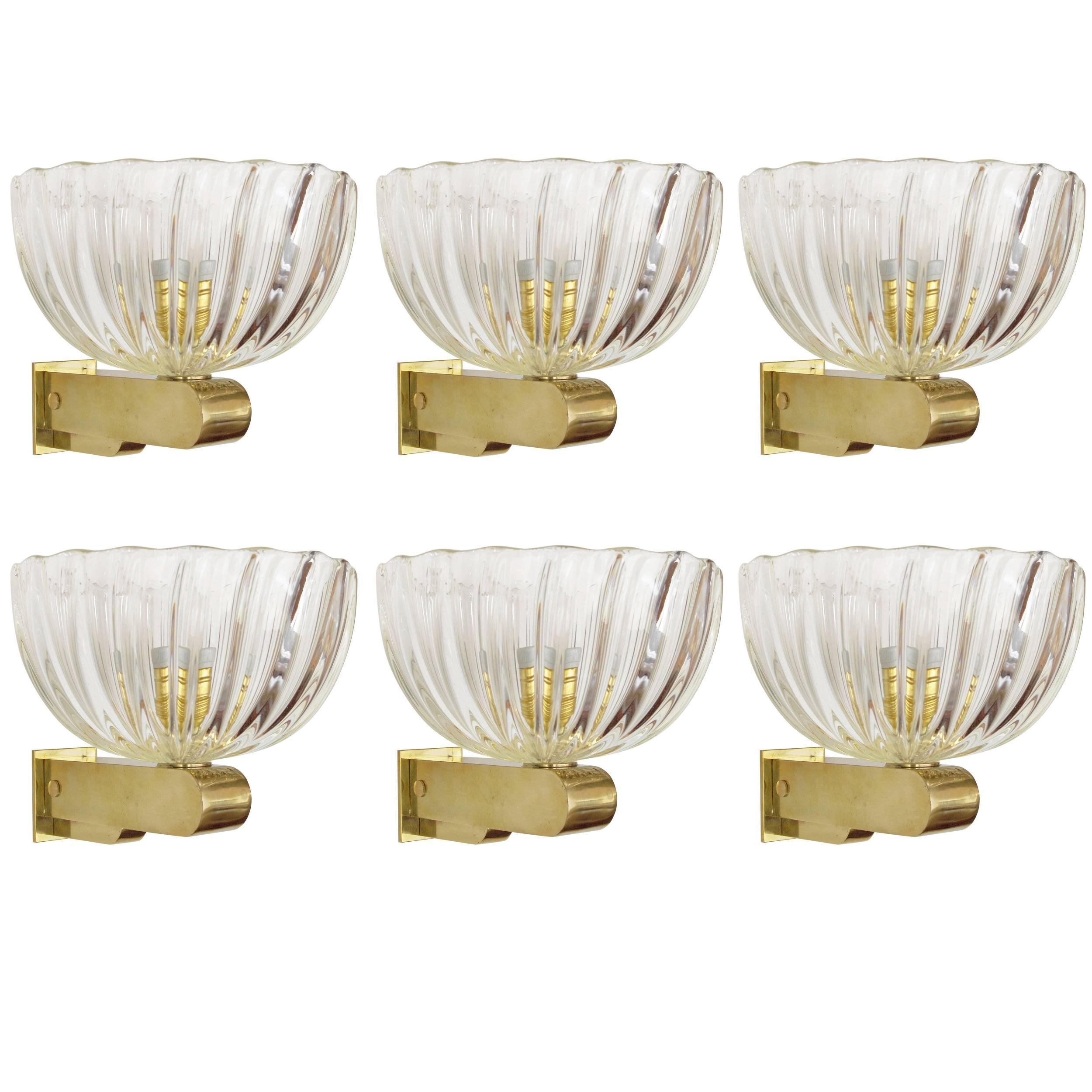 Six Vintage Sconces w/ Clear Murano Glass Designed by Barovier e Toso, 1960s