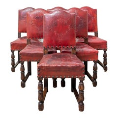Six Vintage Spanish Dining Chairs Aniline Red Leather, Mid-Century