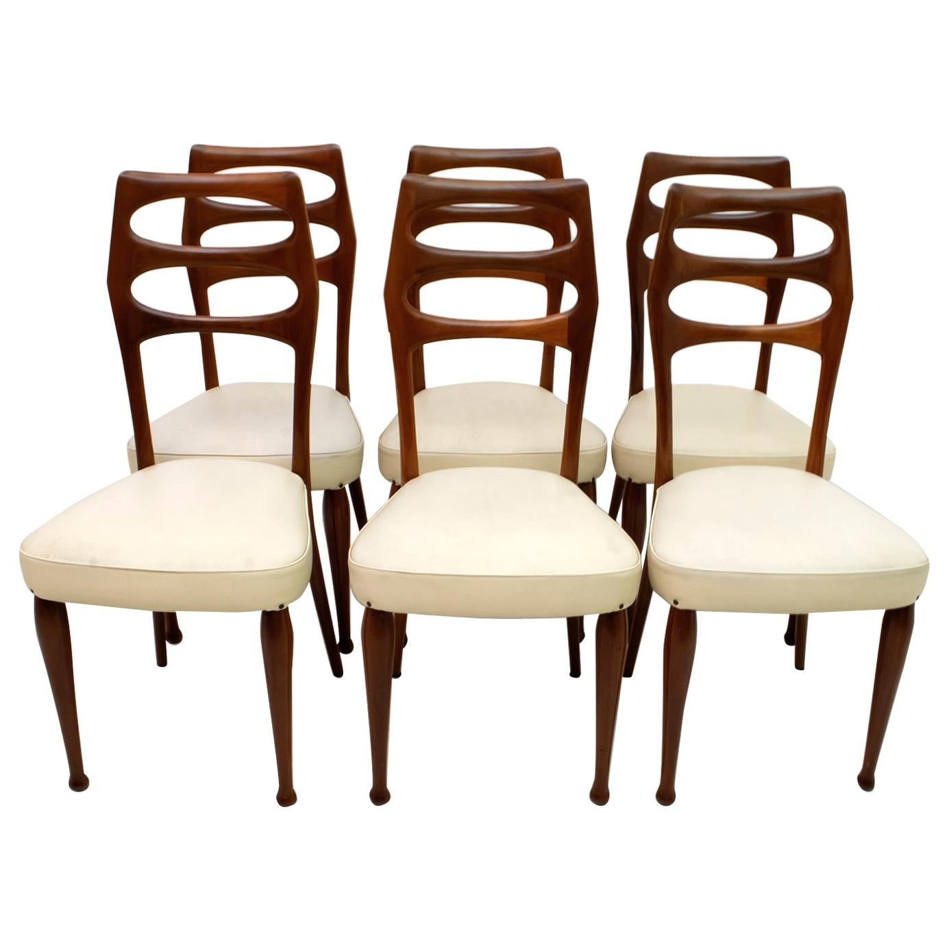 Six Vittorio Dassi Mid-Century Modern Italian Mahogany Dining Chairs, 1950s