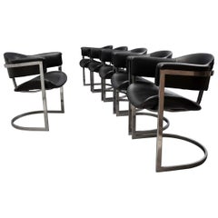 Six Vittorio Introini for Mario Sabot Chrome and Leather Chairs, 1970