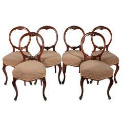 Six Walnut Cabriole Leg Chairs