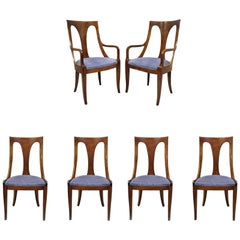 Six Walnut Regency Style Curved Back Dining Room Chairs with Saber Legs