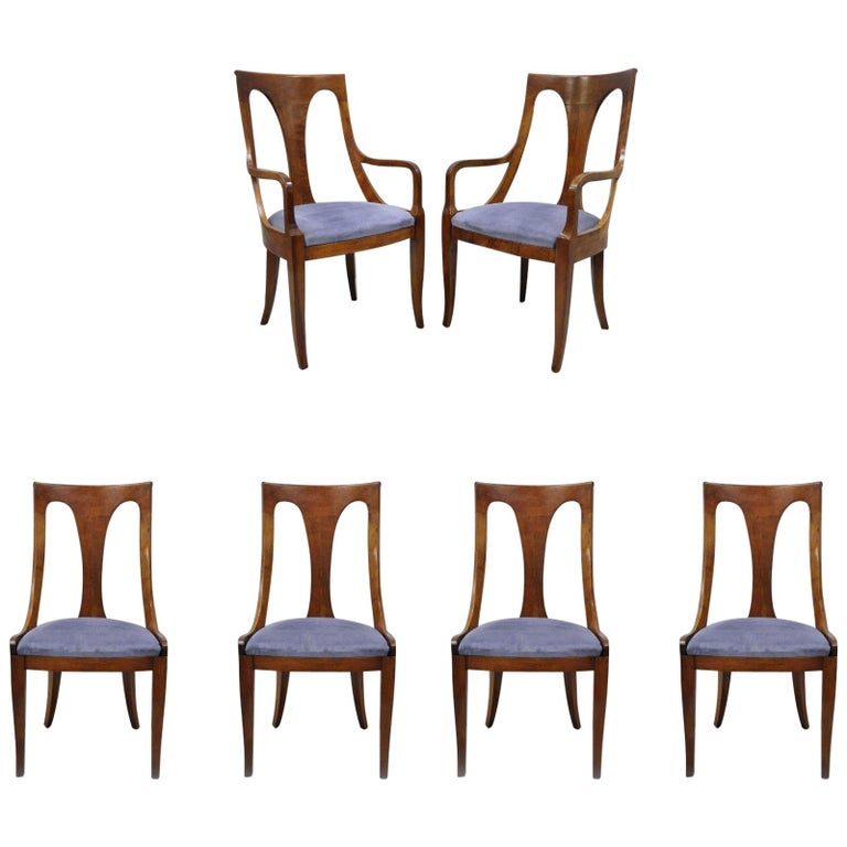 Six Walnut Regency Style Curved Back Dining Room Chairs ...