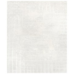 Six White - Plain Nice Hand Knotted Wool Tencel Linen Allo Rug