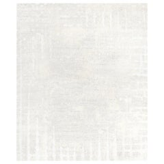 Six White Hand Knotted Wool, Tencel and Aloe Rug 'Large-Size'
