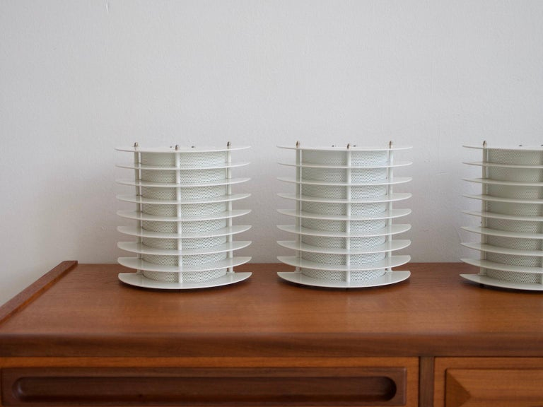 20th Century Six White Lacquered Metal Wall Lamps by Boréns For Sale