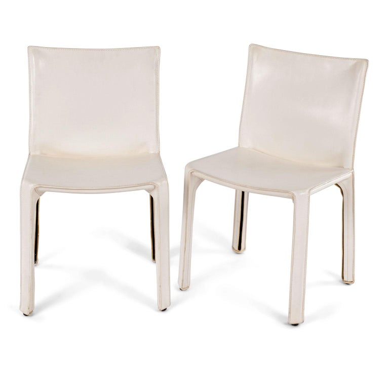 Modern Six White Mario Bellini Cab 412 Side Chairs For Sale