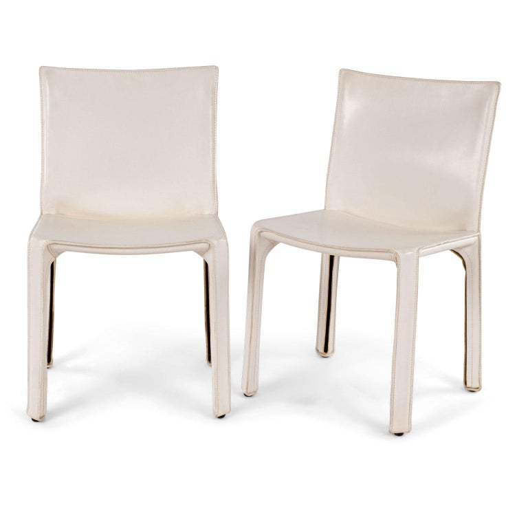 Italian Six White Mario Bellini Cab 412 Side Chairs For Sale