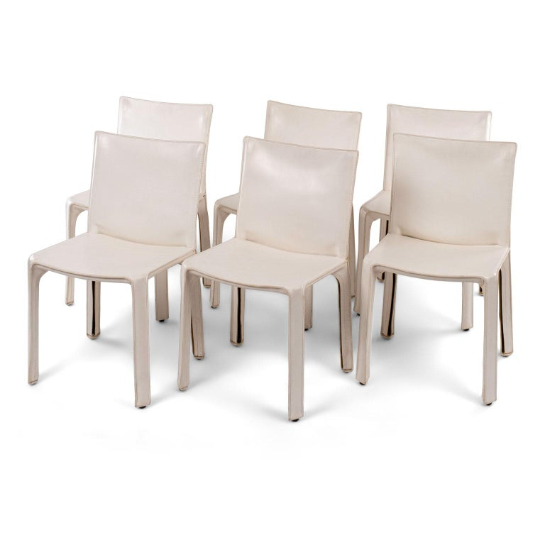 Six White Mario Bellini Cab 412 Side Chairs In Good Condition For Sale In Houston, TX