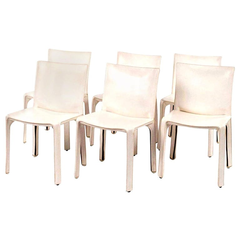 Late 20th Century Six White Mario Bellini Cab 412 Side Chairs For Sale