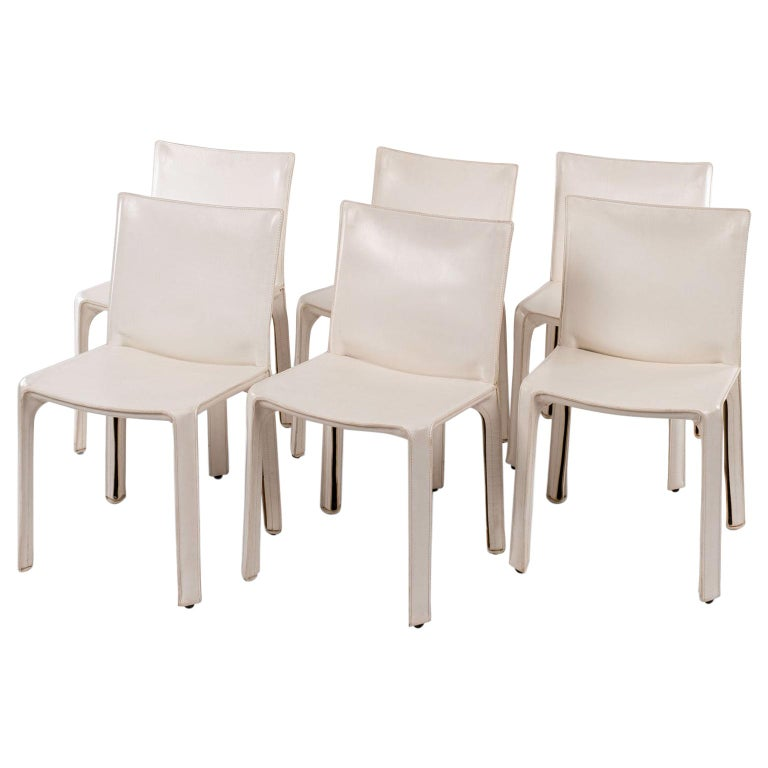 Six White Mario Bellini Cab 412 Side Chairs For Sale