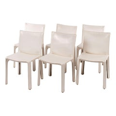 Six White Vintage Mario Bellini Cab 412 Side Chairs