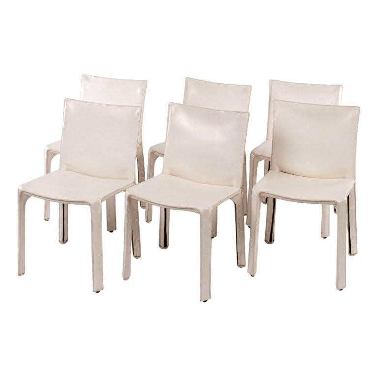 Six White Vintage Mario Bellini Cab 412 Side Chairs For Sale