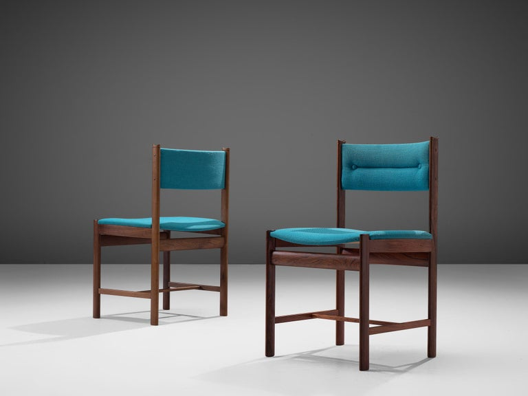 Fabric Sixteen Customizable Danish Dining Chairs in Rosewood For Sale