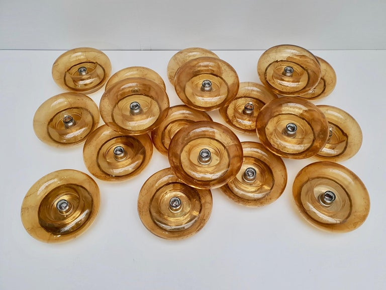 One of Twenty-Four Doria Glass and Brass Wall Light Sconces or Flush Mount For Sale 7