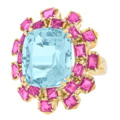 1960s Aquamarine and Pink Sapphire Gold Ring