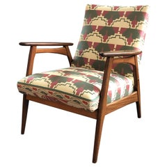 1960s Chair from Teak Wood with Pierre Frey Fabric