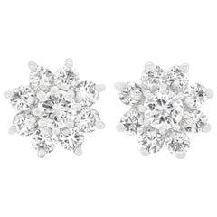 Sixties Diamond Set Gold Flower Earrings