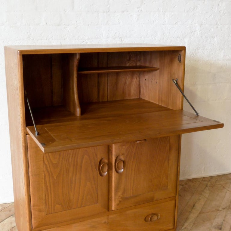 Sixties Ercol Elm Writing Secretaire For Sale 12