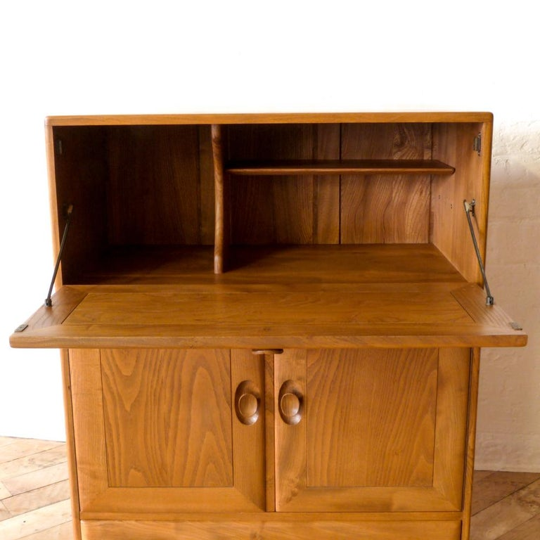 Sixties Ercol Elm Writing Secretaire For Sale 3