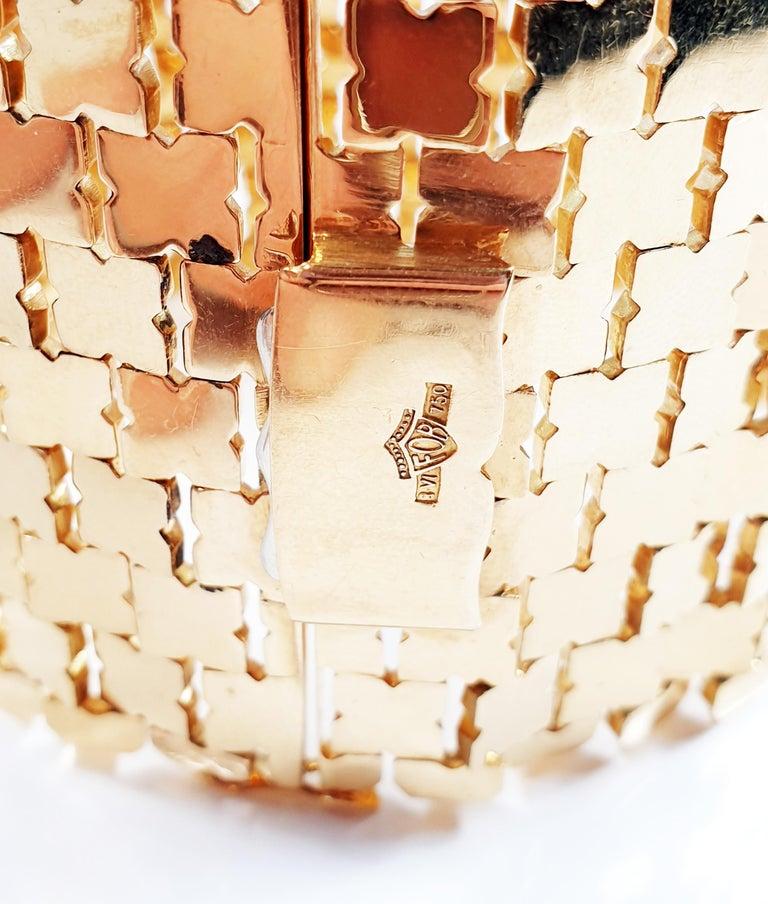 Women's or Men's Sixties Glam Mesh Bracelet in 18 Karat Yellow Gold For Sale
