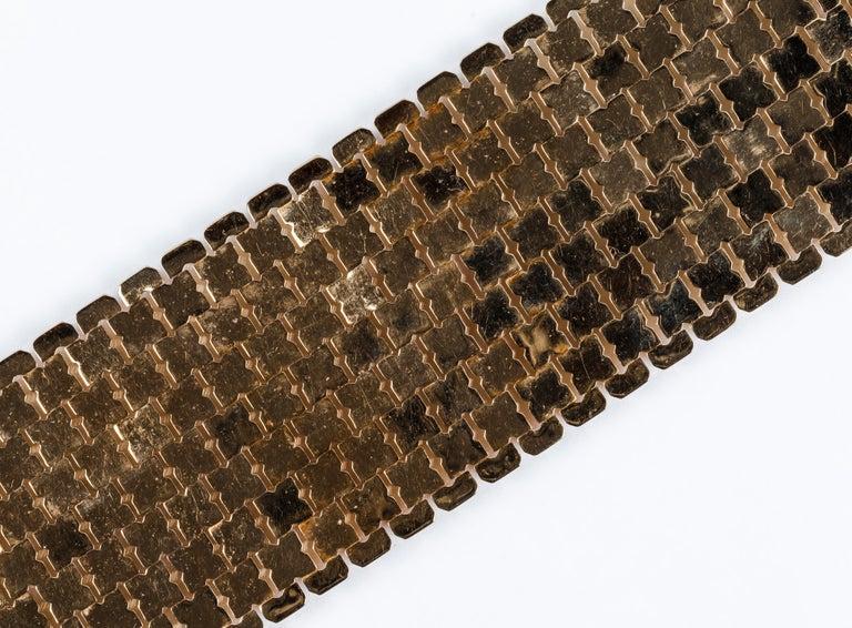 Sixties Glam Mesh Bracelet in 18 Karat Yellow Gold In Good Condition For Sale In Bilbao, ES