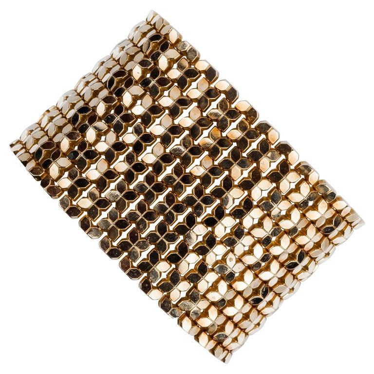 Sixties Glam Mesh Bracelet in 18 Karat Yellow Gold For Sale