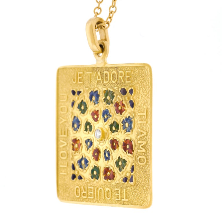 "1960 ""I Love You"" in Four Languages Pendant For Sale 7"