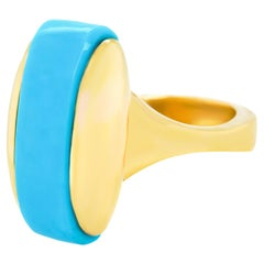 Sixties Modern Turquoise and Gold Ring