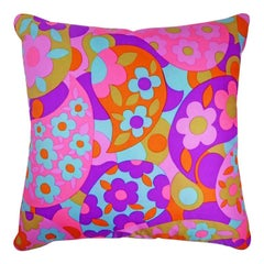 Sixties Vintage Silk Cushion 'Gibson' Bespoke Made Pillow, Made in London