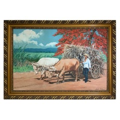Sixto Febus Oil Painting of the Sugar Cane Harvest