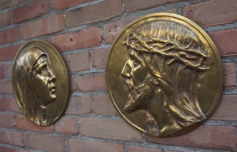 Sizable Pair of Jesus & Mary Bronze Wall Plaque Sculptures by Francis Corbeels For Sale 3