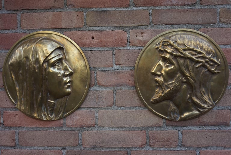 Sizable Pair of Jesus & Mary Bronze Wall Plaque Sculptures by Francis Corbeels For Sale 4