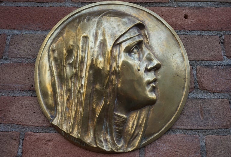 Sizable Pair of Jesus & Mary Bronze Wall Plaque Sculptures by Francis Corbeels For Sale 5