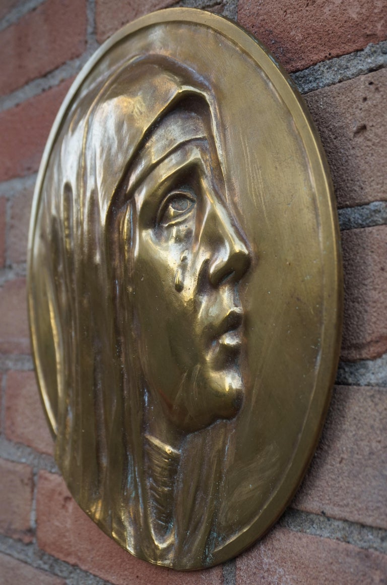 Sizable Pair of Jesus & Mary Bronze Wall Plaque Sculptures by Francis Corbeels For Sale 6