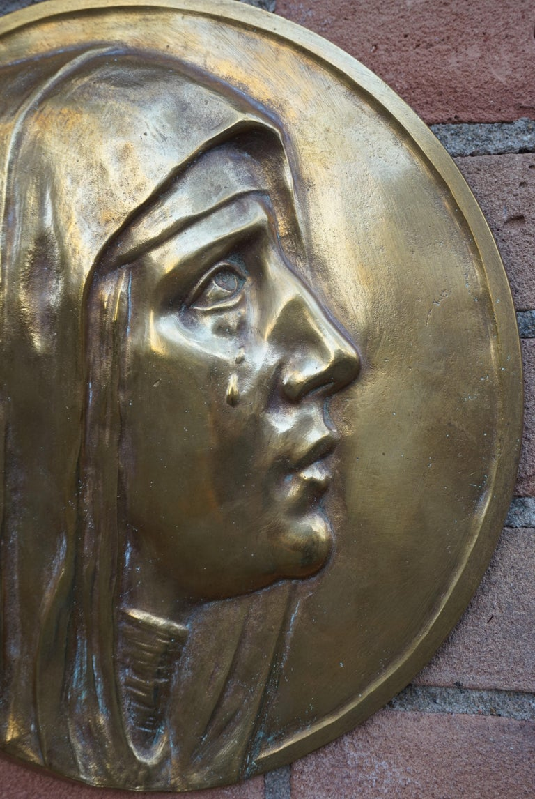 Sizable Pair of Jesus & Mary Bronze Wall Plaque Sculptures by Francis Corbeels For Sale 7