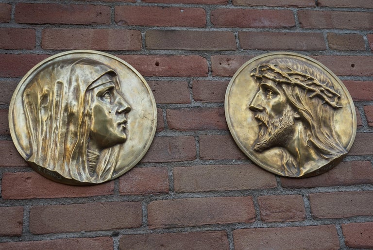Sizable Pair of Jesus & Mary Bronze Wall Plaque Sculptures by Francis Corbeels For Sale 10