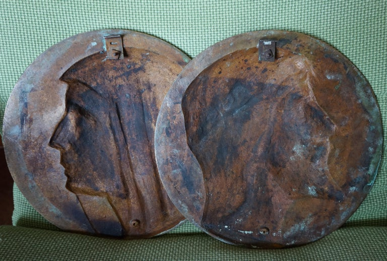 Sizable Pair of Jesus & Mary Bronze Wall Plaque Sculptures by Francis Corbeels For Sale 11