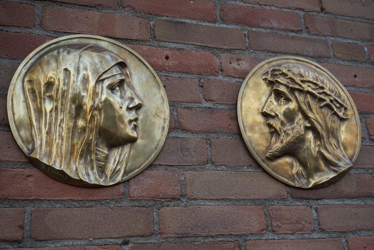 Rare pair of early 1900s bronze plaques by Fr. Corbeels (1888-1956).  This sizable pair of bronze wall plaques is another one of our recent, great finds. Finding works of art by this skilled Belgian sculptor is a real challenge and at this moment we