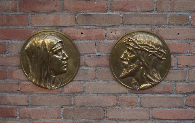 Art Deco Sizable Pair of Jesus & Mary Bronze Wall Plaque Sculptures by Francis Corbeels For Sale