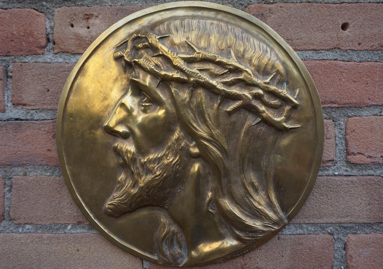 Hand-Crafted Sizable Pair of Jesus & Mary Bronze Wall Plaque Sculptures by Francis Corbeels For Sale